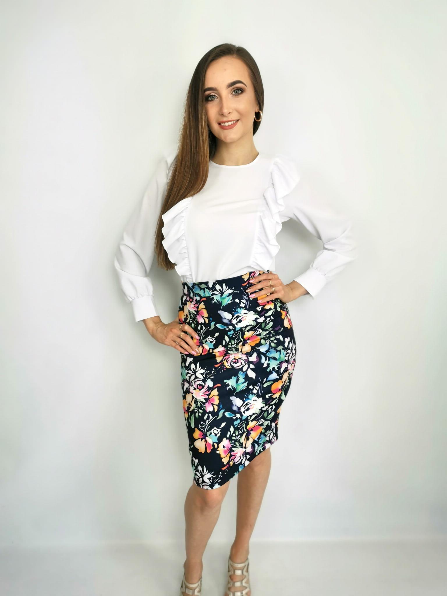 Spódnica ołówek w kwiaty Natally Fashion